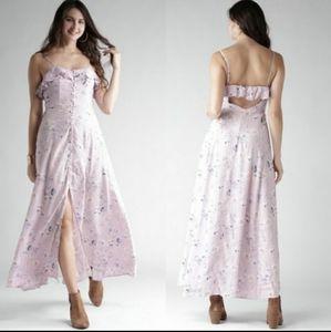 Ruffle/Back Cutout Boho Maxi Dress